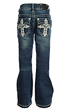 Wired Heart Girls Cross Stitch Flap Pocket Boot Cut Jeans