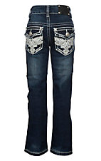 Wired Heart Girls White Cross with Wings and Sequins Flap Pockets Boot Cut Jeans