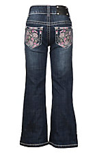 Wired Heart Dark Wash with Pink and Purple Floral Embroidery Open Pocket Boot Cut Jeans