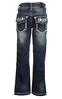 Wired Heart Girls Stitch Inlay Flap Pocket Boot Cut Jeans