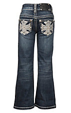Wired Heart Girl's Dark Wash with Tan Cross Stitch and Crystals on Open Pocket Boot Cut Jeans