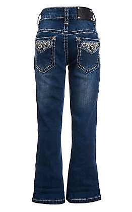 Wired Heart Girls Stitch Inlay Diamond Flap Pocket Boot Cut Jeans