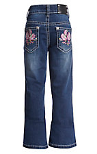 Wired Heart Girls Floral Embroidered Dark Wash Boot Cut Jeans