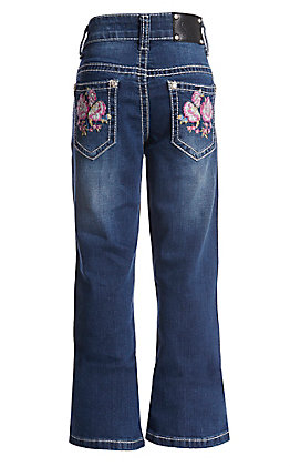 Wired Heart Girls' Floral Embroidered Dark Wash Boot Cut Jeans