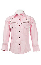 Wired Heart Girl's Solid Pink with Brown Embroidered Yokes Long Sleeve Western Shirt