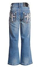 Wired Heart Girls Light Wash Wing Embroidered Crystal Boot Cut Jeans