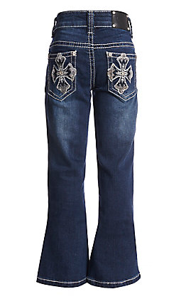 Wired Heart Girls Cross Embroidered Boot Cut Jeans