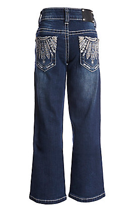 Wired Heart Girls' Tribal Open Pocket Boot Cut Jeans