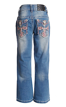 Wired Heart Girls' Cross Embroidered Boot Cut Jeans