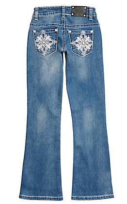 Wired Heart Girls' Medium Wash with Cross Embroidery Boot Cut Jeans