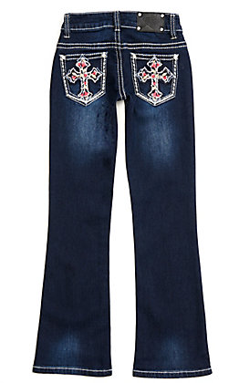 Wired Heart Girls' Dark Wash with Pink Floral Cross Embroidery Boot Cut Jeans
