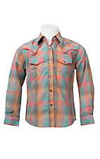 Rock 47 Girl's Turquoise & Pink Multicolor Plaid Long Sleeve Western Shirt