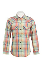 Rock 47 by Wrangler Girl's Coral and Green Plaid with Embroidery Western Snap Shirt
