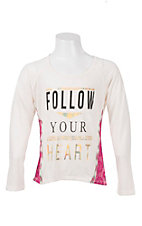 Rock 47 by Wrangler Girl's Cream Follow Your Heart Long Sleeve Tee