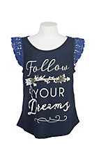 Rock 47 by Wrangler Girl's Navy Follow Your Dreams Graphic Top