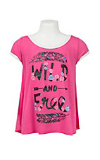 Rock 47 by Wrangler Girl's Pink Wild and Free Graphic Short Sleeve Swing Top