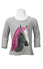 Rock 47 by Wrangler Girl's Heather Grey with Horse Head Graphic Long Sleeve Top