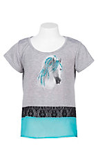 Rock 47 by Wrangler Girl's Grey with Horse Screen Print and Turquoise Details Short Sleeve Casual Knit Top