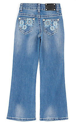 Wired Heart Girls' Turquoise Aztec Embroidered Pocket Boot Cut Jeans