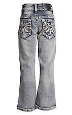 Wired Heart Girls Feather Embroidered Boot Cut Jeans