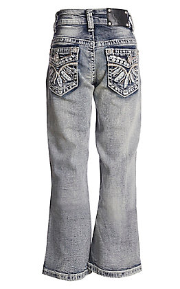 Wired Heart Girls' Feather Embroidered Boot Cut Jeans