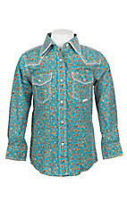 Cowgirl Legend Girls Turquoise Print Long Sleeve Western Snap Shirt