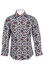 Cowgirl Legend Girls Rust Print Long Sleeve Western Snap Shirt
