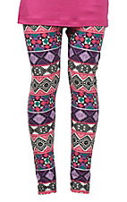 Life Style Girls' Purple, Pink and Black Aztec Print Leggings