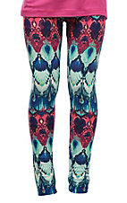 Life Style Girls' Turquoise, Blue and Pink Print Leggings