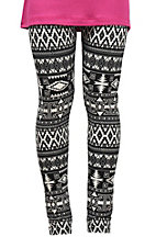 Life Style Girls' Black & White Aztec Print Leggings