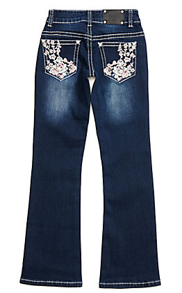 Wired Heart Girls' Dark Wash with Floral Embroidery Boot Cut Jeans