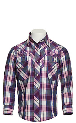 Cowgirl Legend Girls' Purple and Pink Plaid with Retro Yokes Long Sleeve Western Shirt