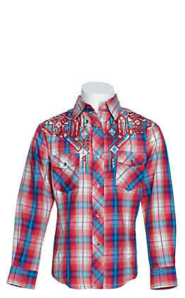 Cowgirl Legend Girls Pink and Blue Shimmer Plaid with Aztec Embroidery Long Sleeve Western Shirt