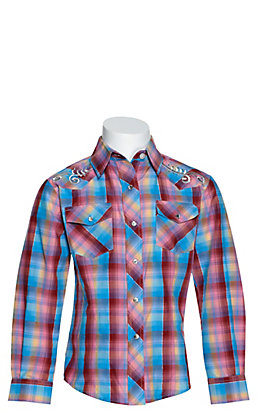 Cowgirl Legend Girls Multi Plaid with Swirl Embroidery and Rhinestones Long Sleeve Western Shirt
