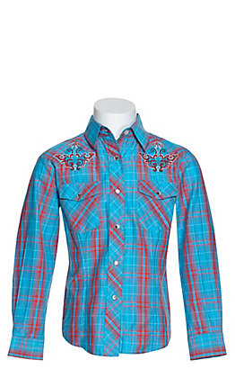 Cowgirl Legend Girls Turquoise and Coral Shimmer Plaid with Embroidery Long Sleeve Western Shirt