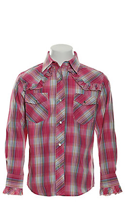 Cowgirl Legend Girls' Pink, Turquoise & Lime Plaid with Ruffles Long Sleeve Western Shirt