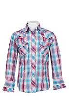 Cowgirl Legend Girls Pink and blue Plaid With Ruffles L/S Western Snap Shirt