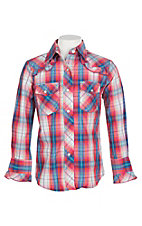 Cowgirl Legend Girls Orange, Pink and Blue Plaid Ruffled Western Shirt