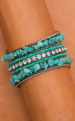 9 Piece Turquoise and Bling Silver Bangle Set