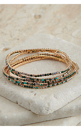 Grace & Emma Dainty Gold with Emerald Green and Turquoise Stones 5 Piece Stretch Bracelets