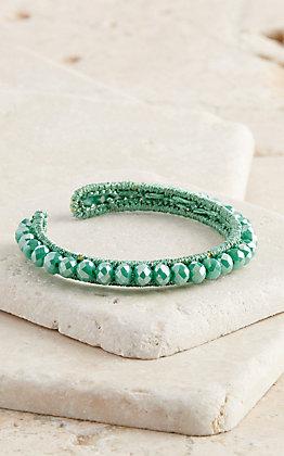 Ashlyn Rose Shiny Turquoise Beaded Adjustable Bracelet