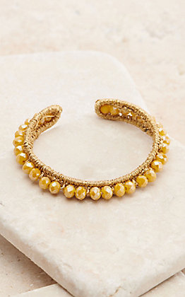Ashlyn Rose Shiny Mustard Beaded Adjustable Bracelet