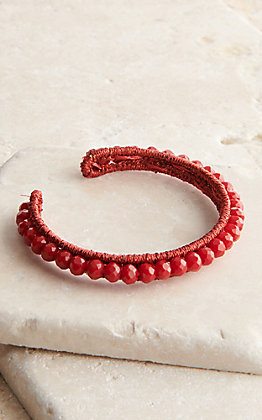 Grace & Emma Shiny Red Beaded Adjustable Bracelet