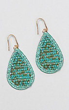 Grace & Emma Crystal Turquoise Beaded Teardrop Earring