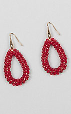 Grace & Emma Maroon Crystal Beaded Teardrop Earrings