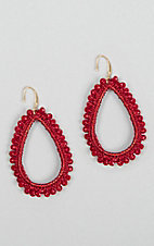 Grace & Emma Red Crystal Beaded Teardrop Earrings