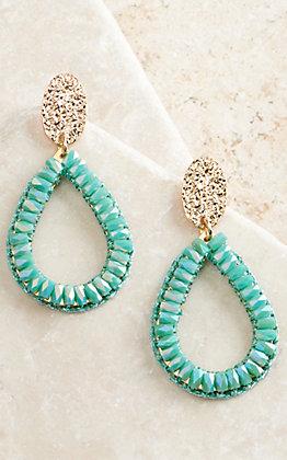 Ashlyn Rose Gold Teardrop with Minty Green Crystals Dangle Earrings