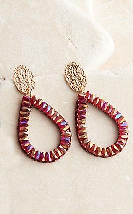 Ashlyn Rose Gold Teardrop with Maroon Crystals Dangle Earrings