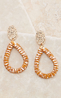 Ashlyn Rose Gold Teardrop with Mustard Crystals Dangle Earrings