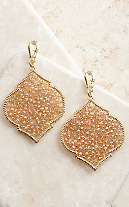Ashlyn Rose Gold with Iridescent Champagne Beads Quatrefoil Drop Earrings